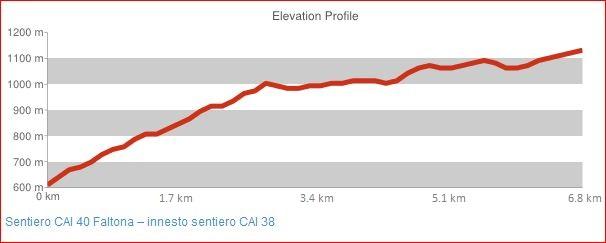 Sentiero CAI 40 Faltona - innesto sentiero CAI 38
